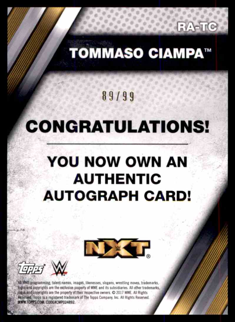 2017 Topps Wwe Nxt Tommaso Ciampa card back image