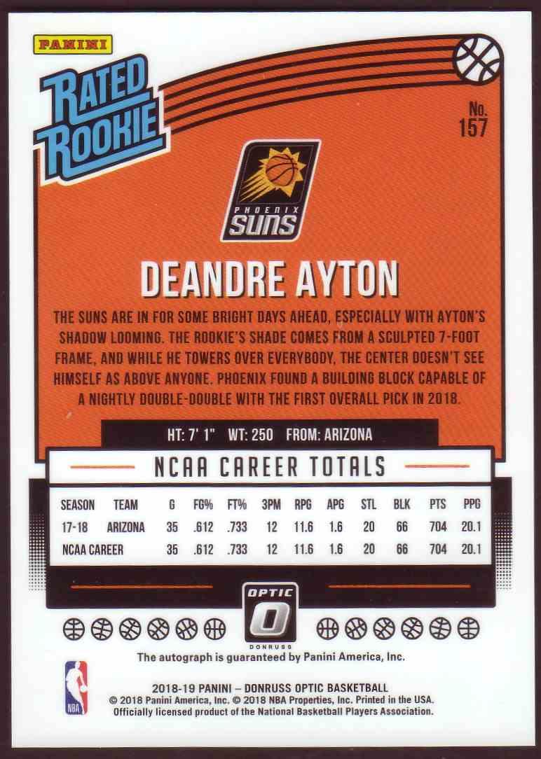 2018-19 Donruss Optic Rated Rookie Signature DeAndre Ayton #157 card back image