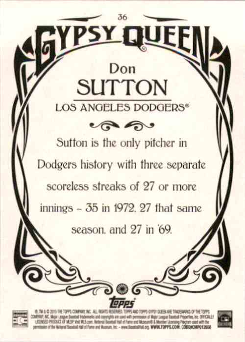 2015 Topps Gypsy Queen Don Sutton #36 card back image