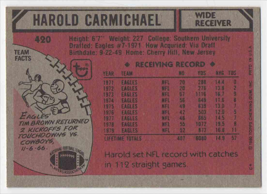 1980 Topps Harold Carmichel #420 card back image