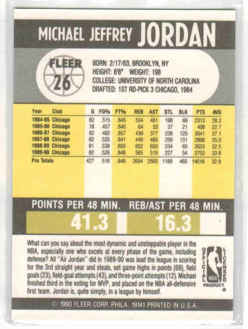 1990-91 Fleer Michael Jordan #26 card back image