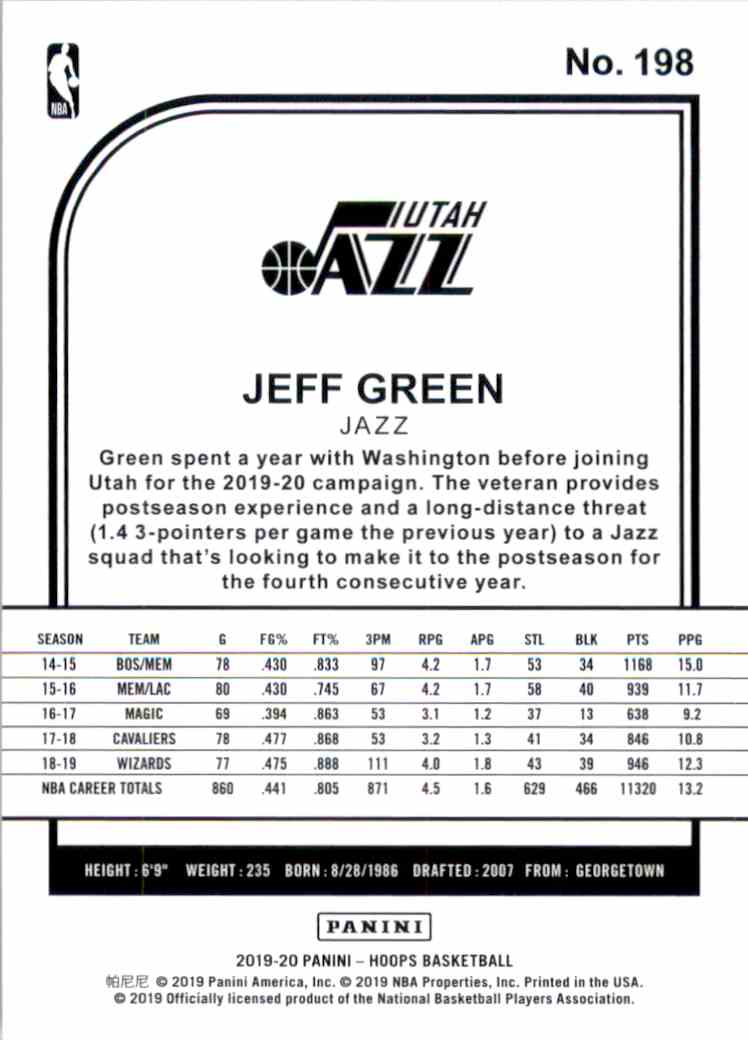 2019-20 Hoops Jeff Green #198 card back image