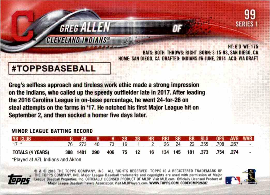 2018 Topps Series One Greg Allen #99 card back image