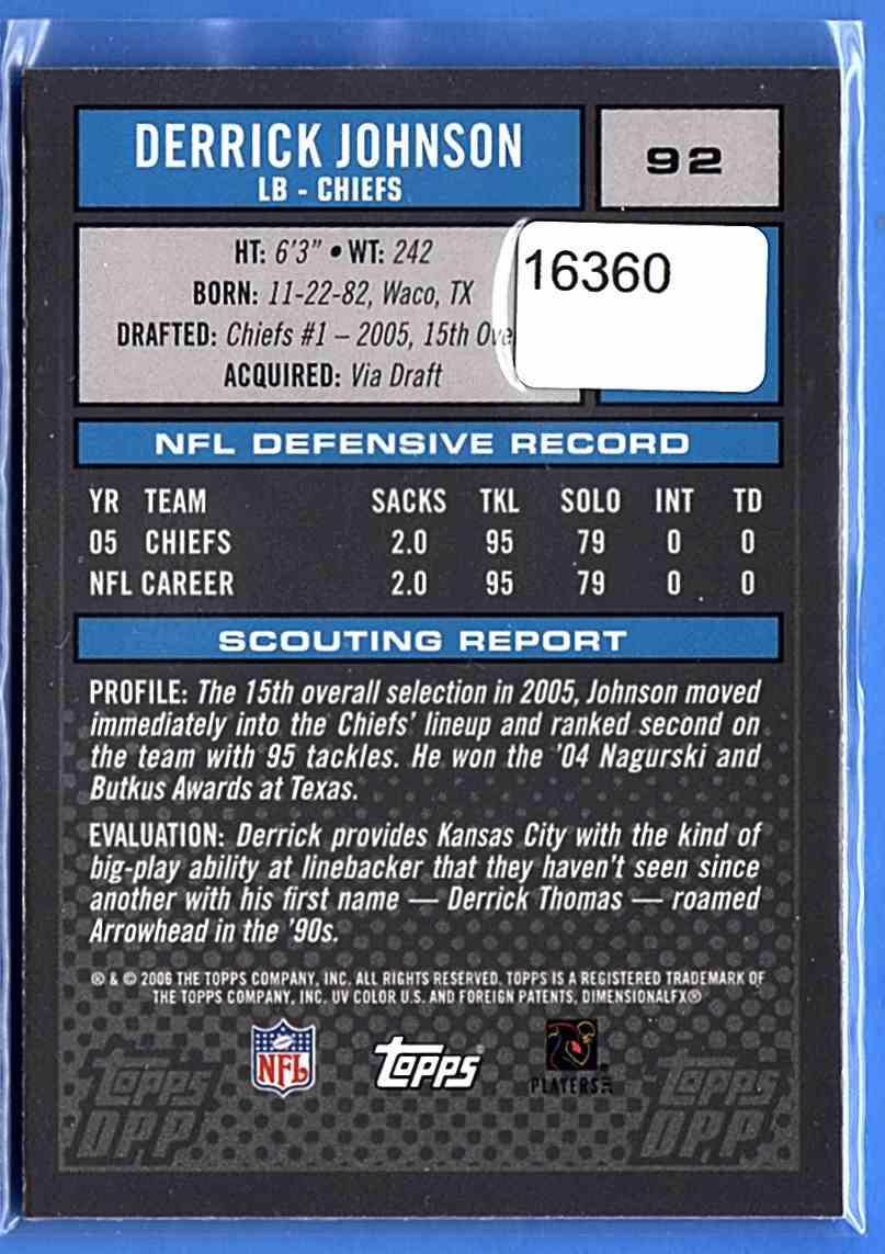 2006 Topps Draft Picks And Prospects Chrome Black Derrick Johnson #92 card back image