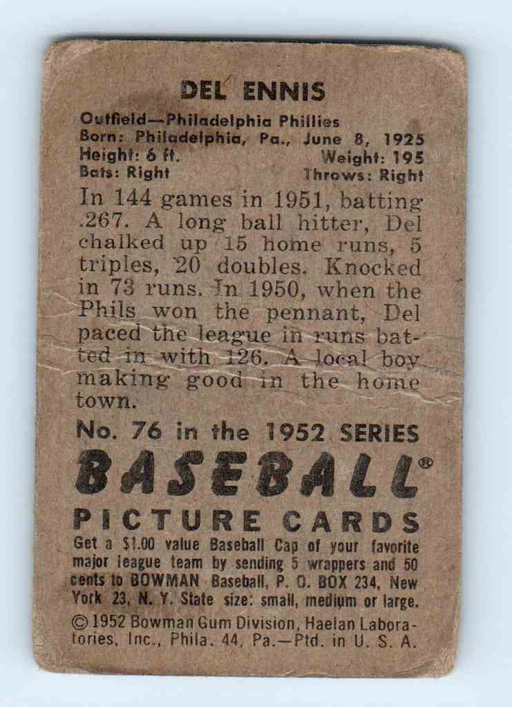 1952 Bowman Del Ennis #76 card back image