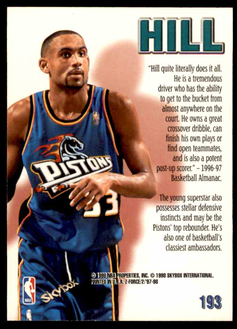 1997-98 Skybox Z Force Zuperman Grant Hill #193 card back image