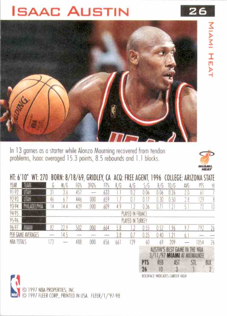 1997-98 Fleer Isaac Austin #26 card back image