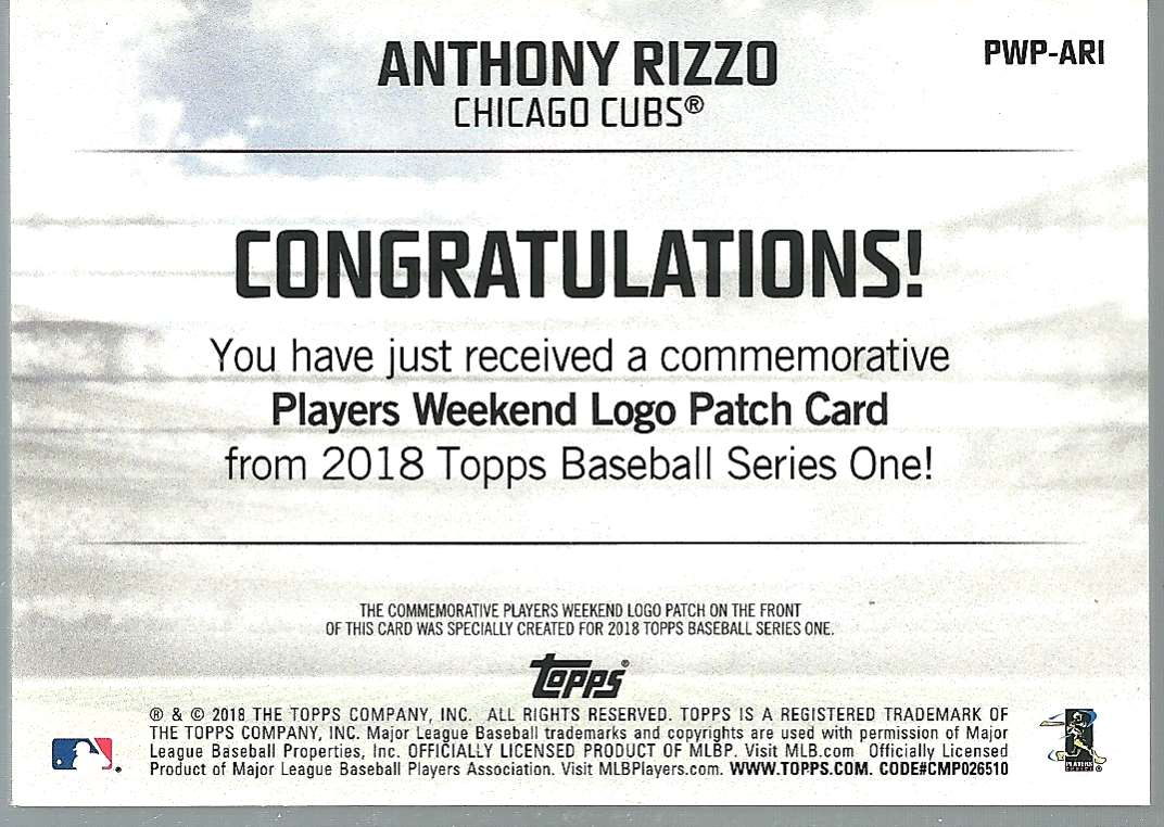 2018 Topps Players Weekend Patches Anthony Rizzo #PWP-ARI card back image