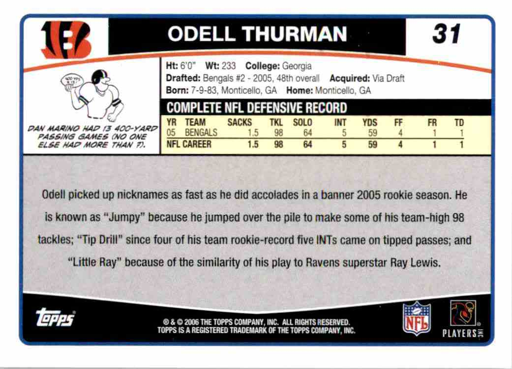 2006 Topps Odell Thurman #31 card back image