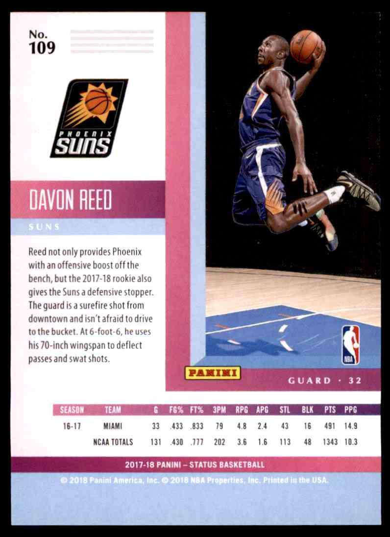 2017-18 Panini Status Davon Reed #109 card back image