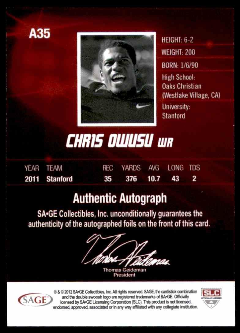 2012 Sage Hit Autographs Chris Owusu #A35 card back image