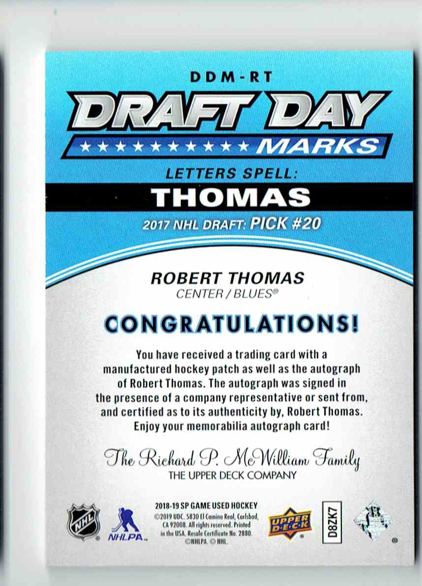 2018-19 SP Game Used Robert Thomas #DDM-RT card back image