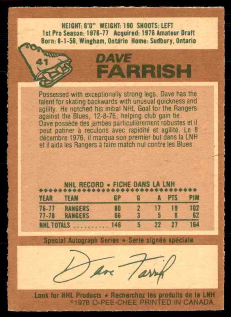 1978-79 O-Pee-Chee Dave Farrish #41 card back image