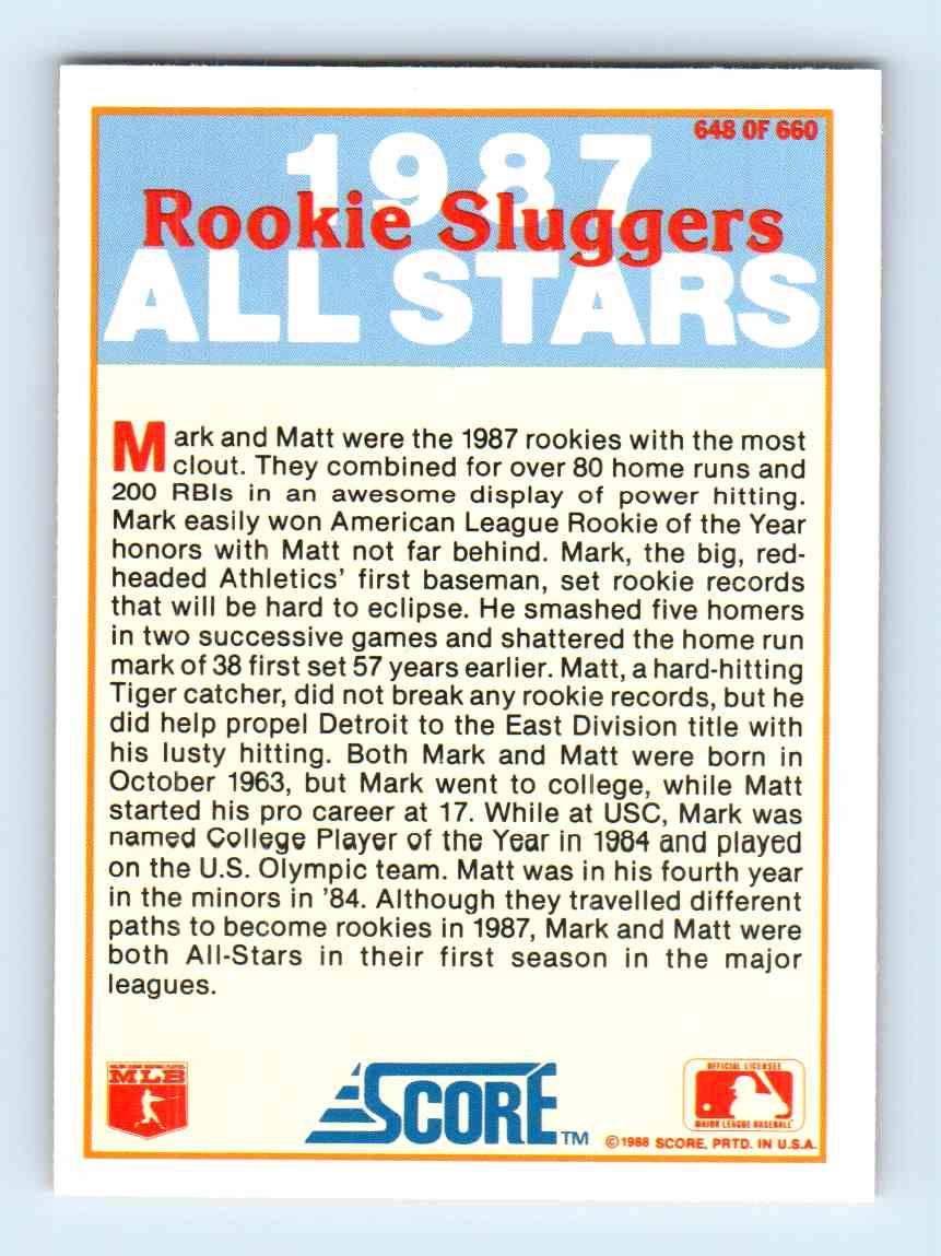 1988 Score Mark Mcgwire Matt Nokes 648 Of 660 On Kronozio