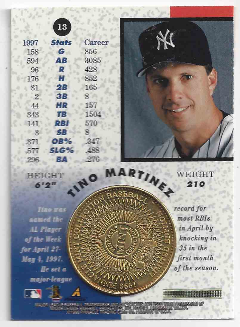 1998 Pinnacle Mint Collection Tino Martinez #13 card back image