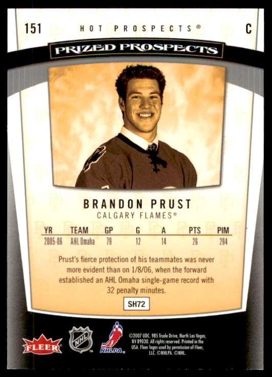 2007-08 Fleer Hot  Prized Prospects Brandon Prust #151 card back image