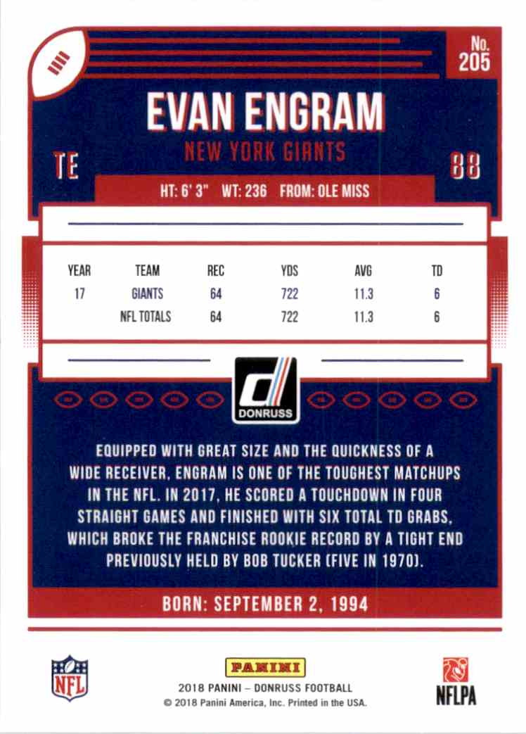 2018 Donruss Evan Engram #205 card back image