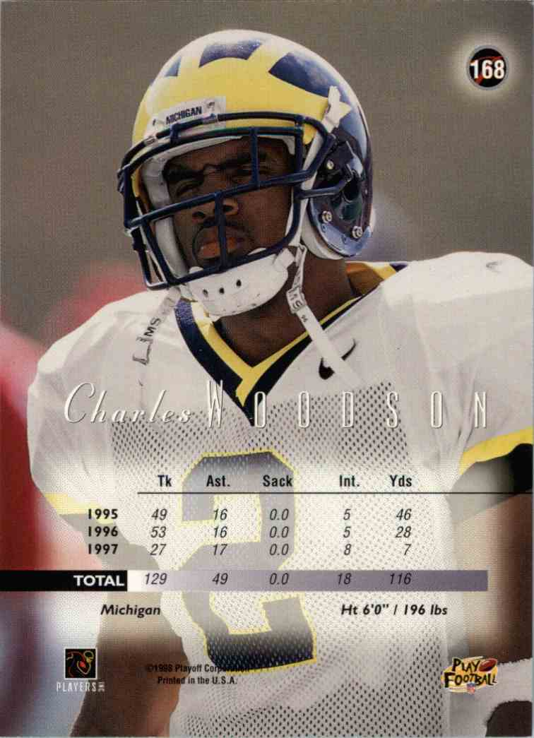 1998 Playoff Prestige Charles Woodson #168 card back image