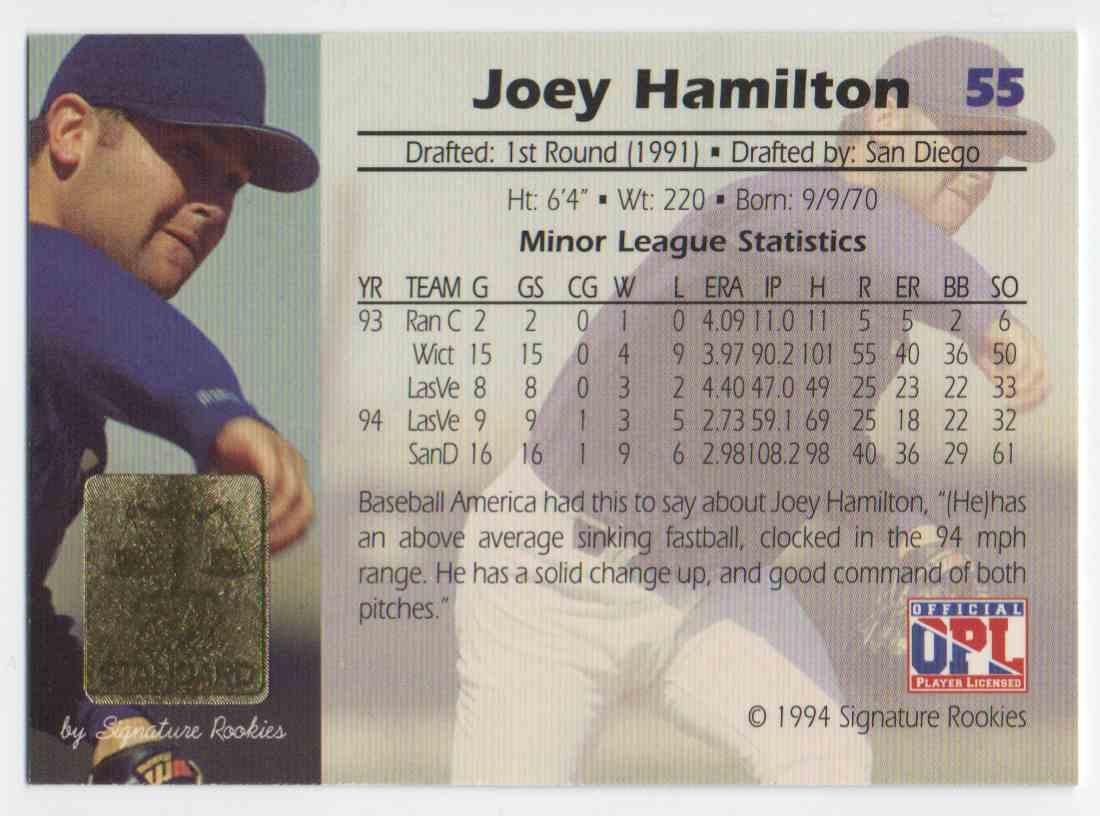 1994 Signature Rookies Gold Standard Joey Hamilton #55 card back image