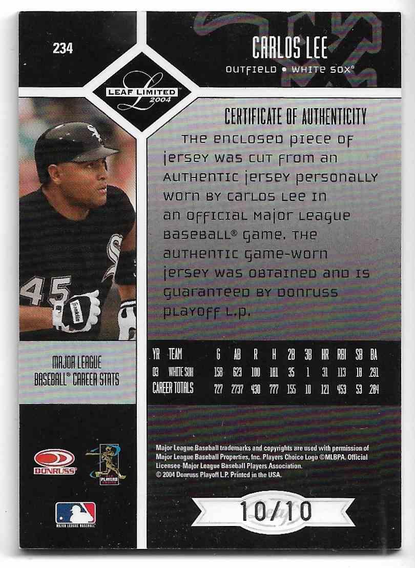 2004 Leaf Limited Carlos Lee #234 card back image