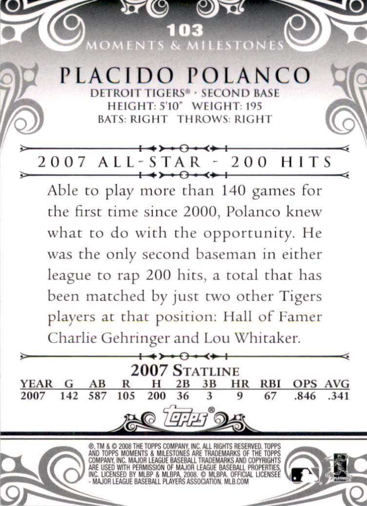 2008 Topps Moments And Milestones Placido Polanco/Uer Last Name Misspelled #103 card back image