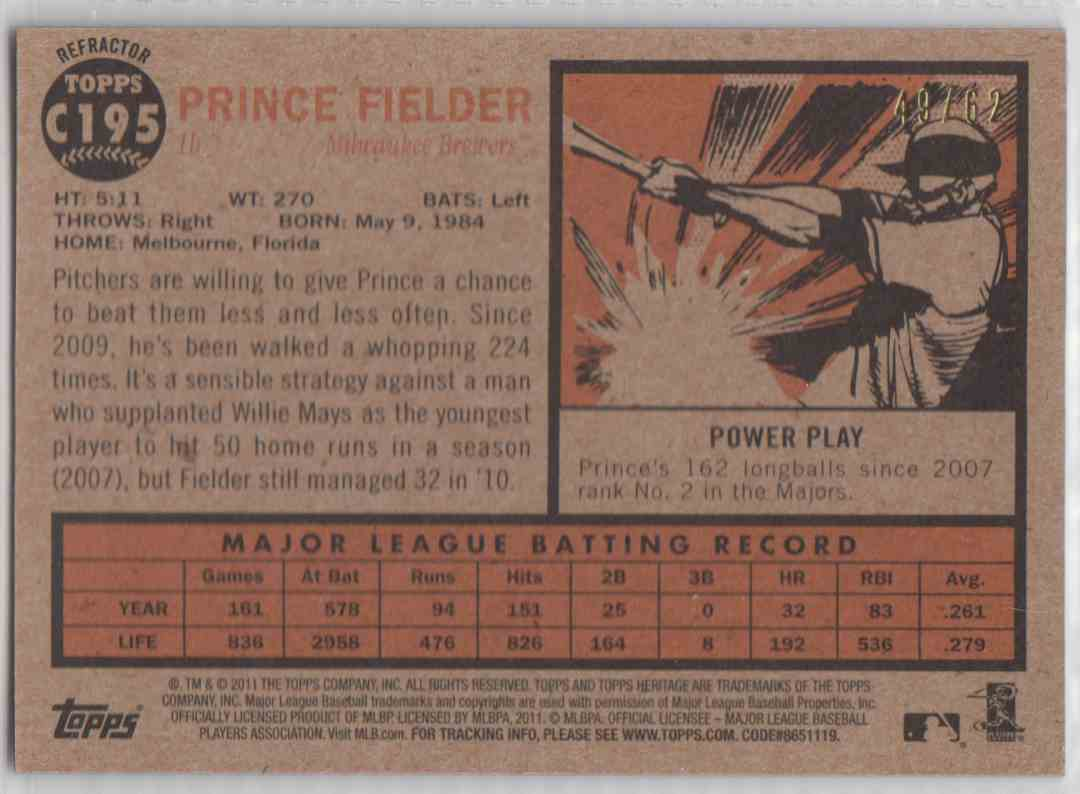 2011 Topps Heritage Chrome Prince Fielder #C195 card back image