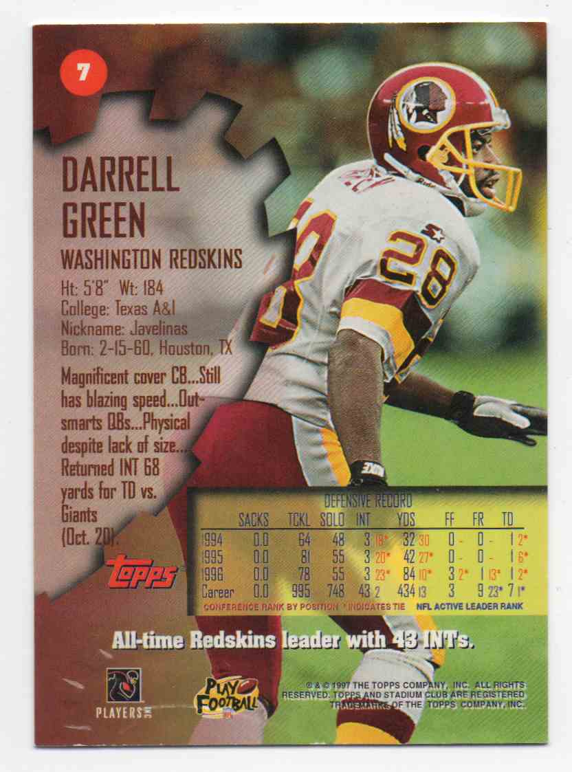 1997 Stadium Club Darrell Green #7 card back image