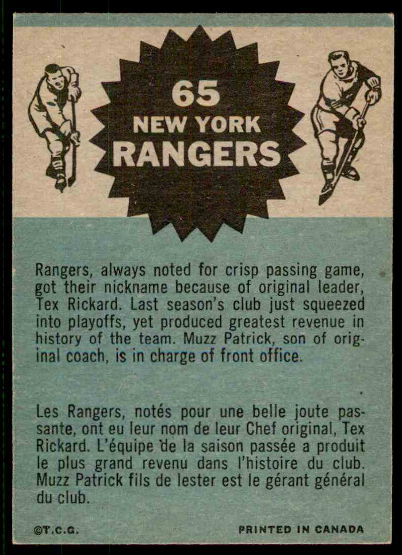 1962-63 Topps Team Pictures #65 card back image