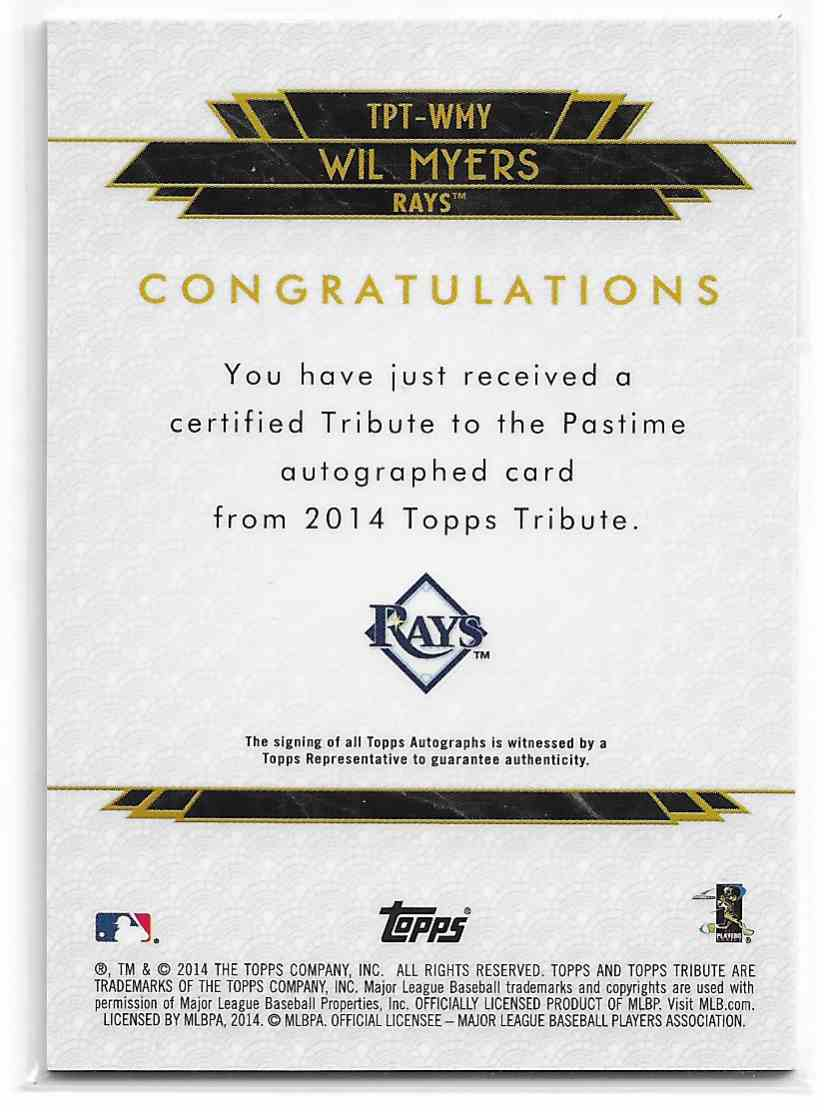 2014 Topps Tribute To The Pastime Wil Myers #TPT-WMY card back image