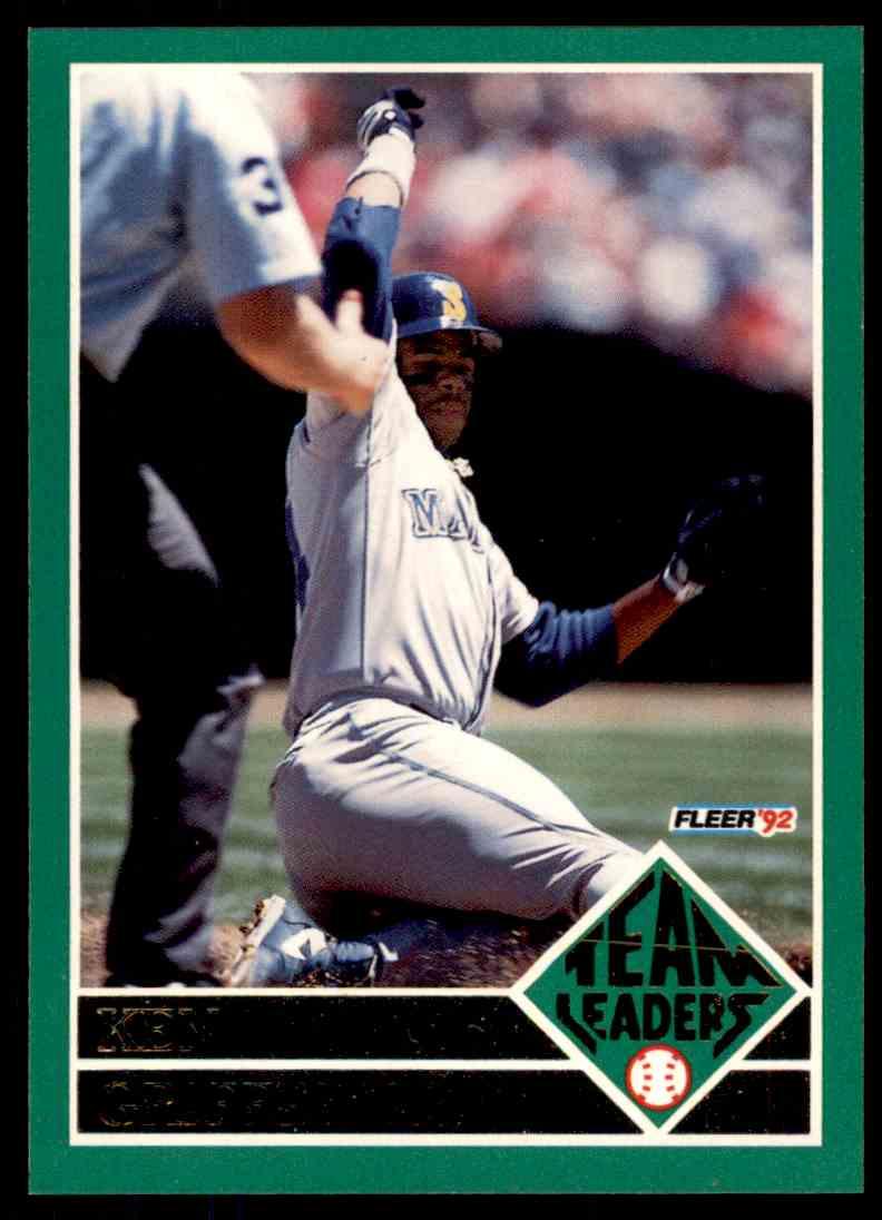 10c77f54b0 1992 Fleer Team Leaders Ken Griffey JR #15 OF 20 card front image
