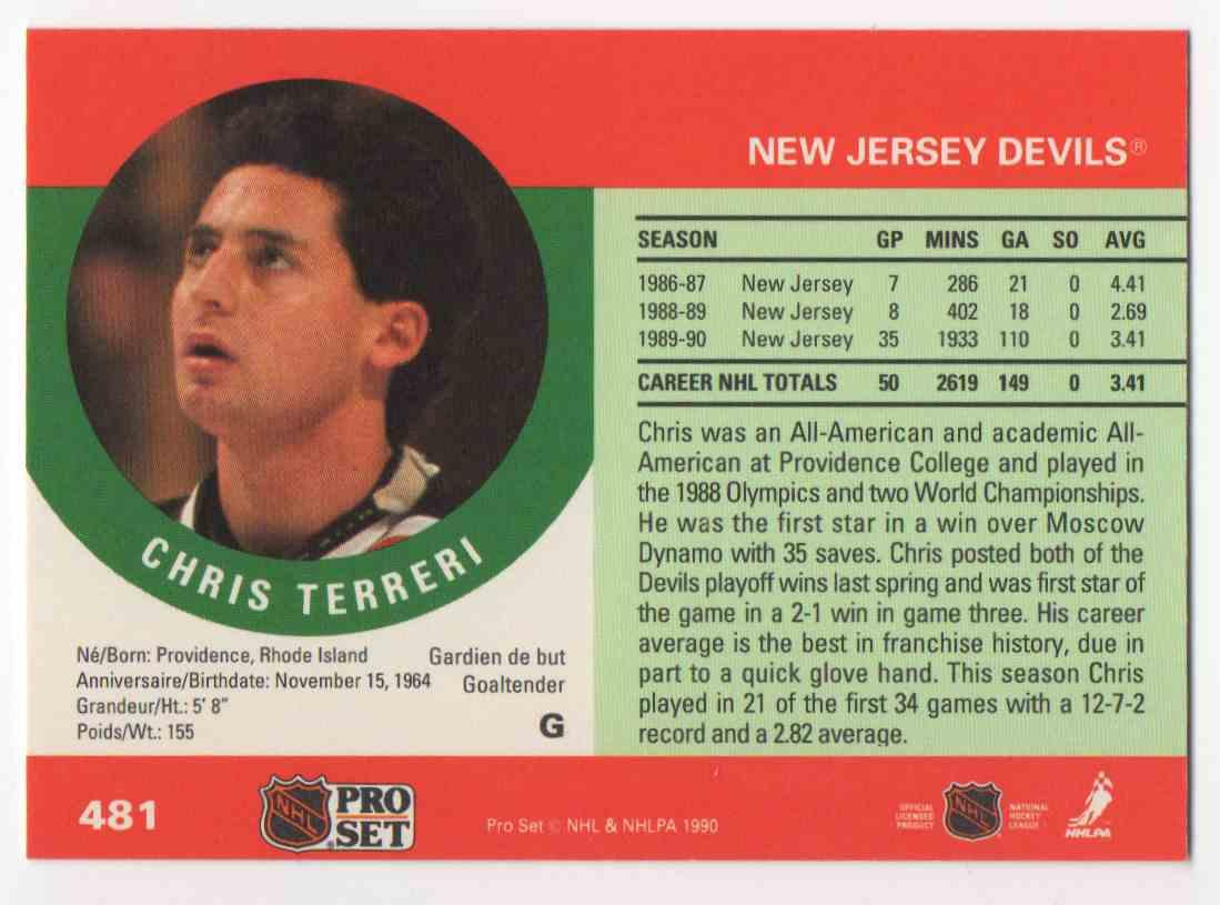 1990-91 Pro Set Chris Terreri #481 card back image