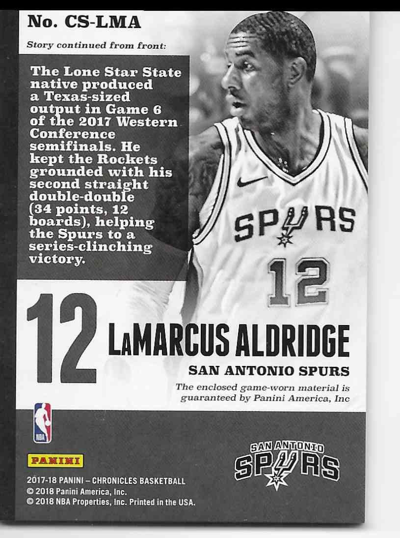 2017-18 Panini Chronicles Swatches LaMarcus Aldridge #CS-LMA card back image