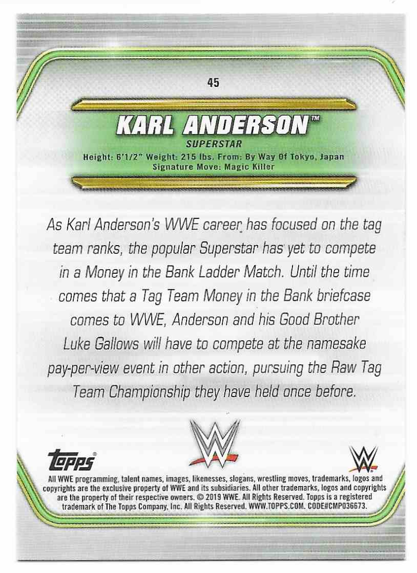 2019 Topps Wwe Money In Then Bank Bronze Karl Anderson #45 card back image