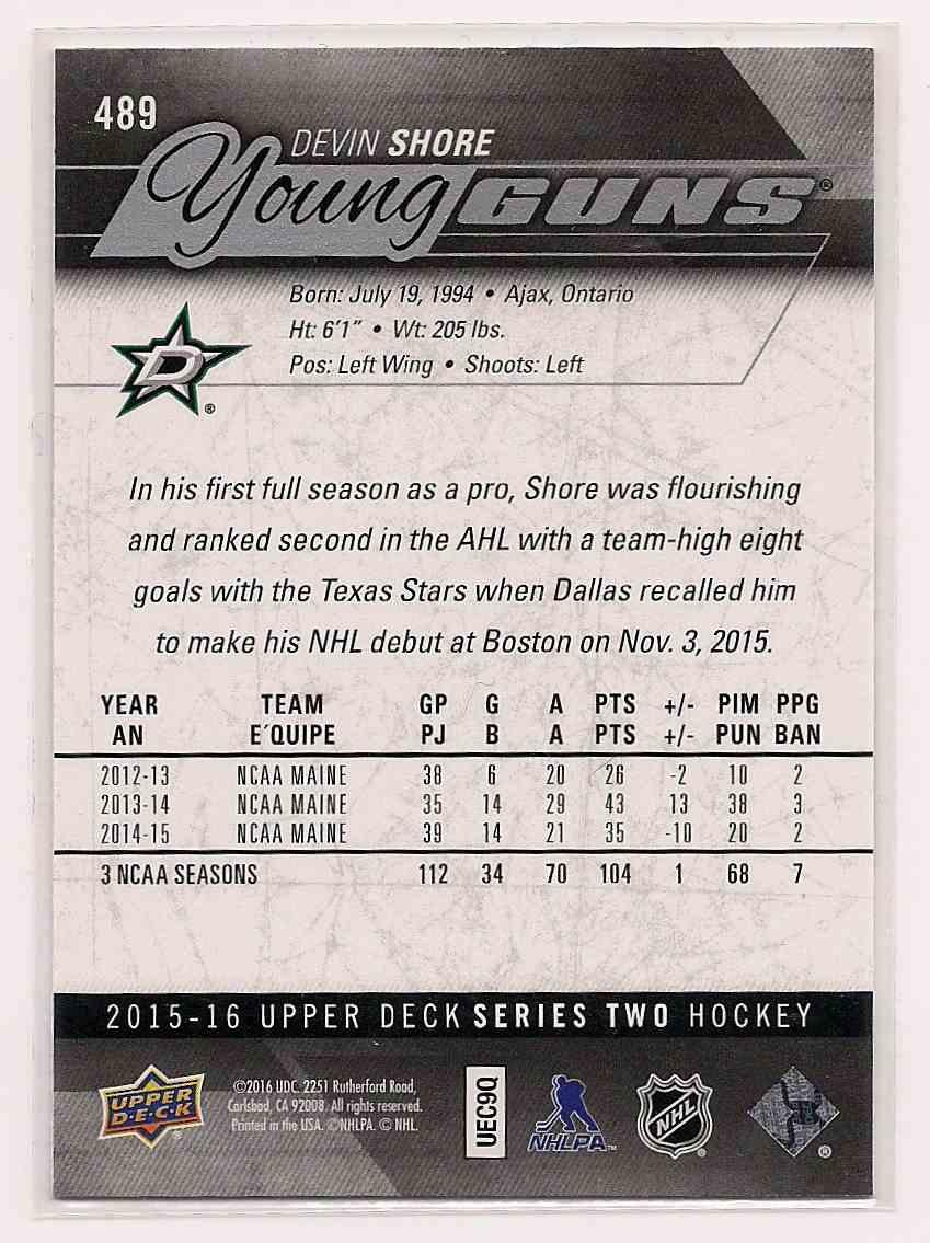 2015-16 Upper Deck Young Guns Devin Shore #489 card back image