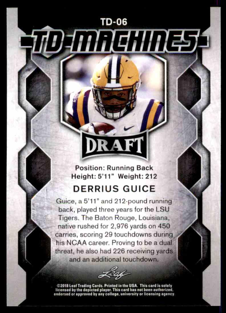 2018 Leaf Draft Derrius Guice #TD-06 card back image