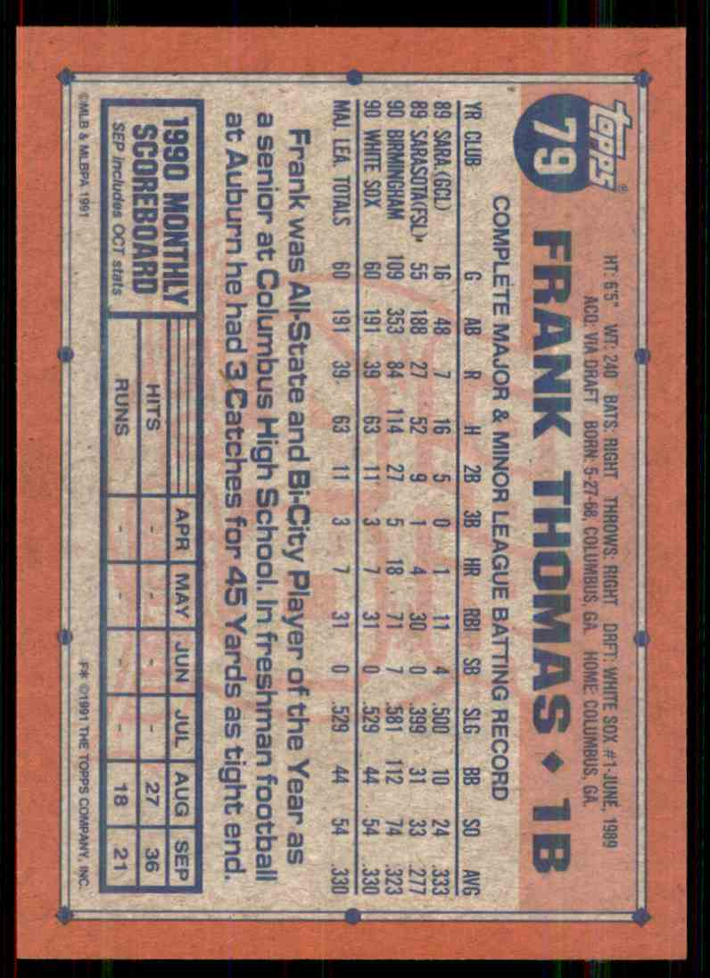 1991 Topps Frank Thomas #79 card back image