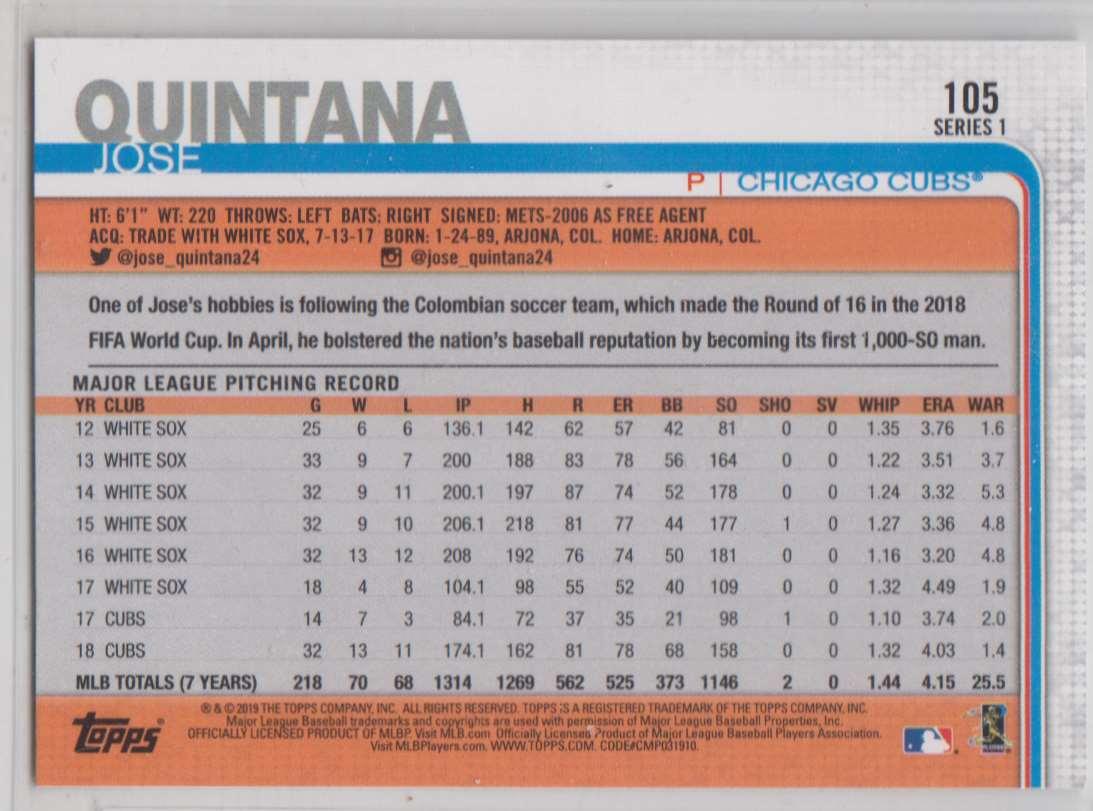 2019 Topps Jose Quintana #105 card back image