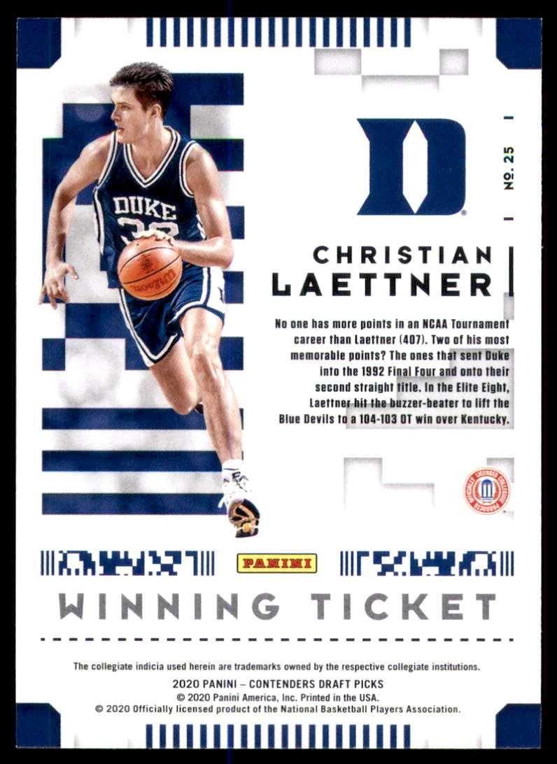 2020-21 Panini Contenders Draft Picks Winning Tickets Christian Laettner #25 card back image