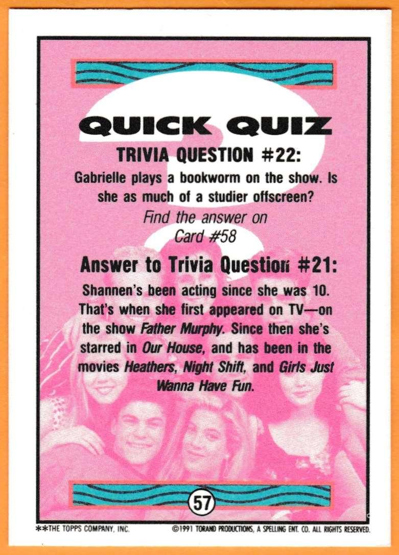 1991 90210 90210 Quick Quiz #57 card back image