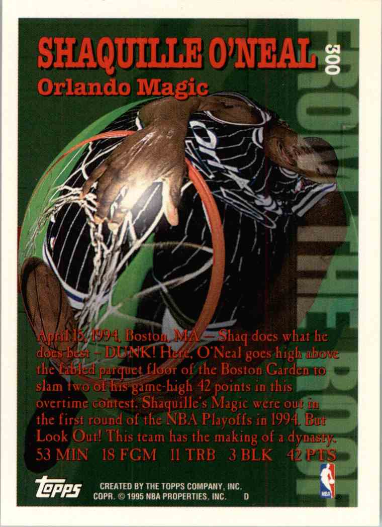 1995-96 Topps Shaquille O'Neal #300 card back image