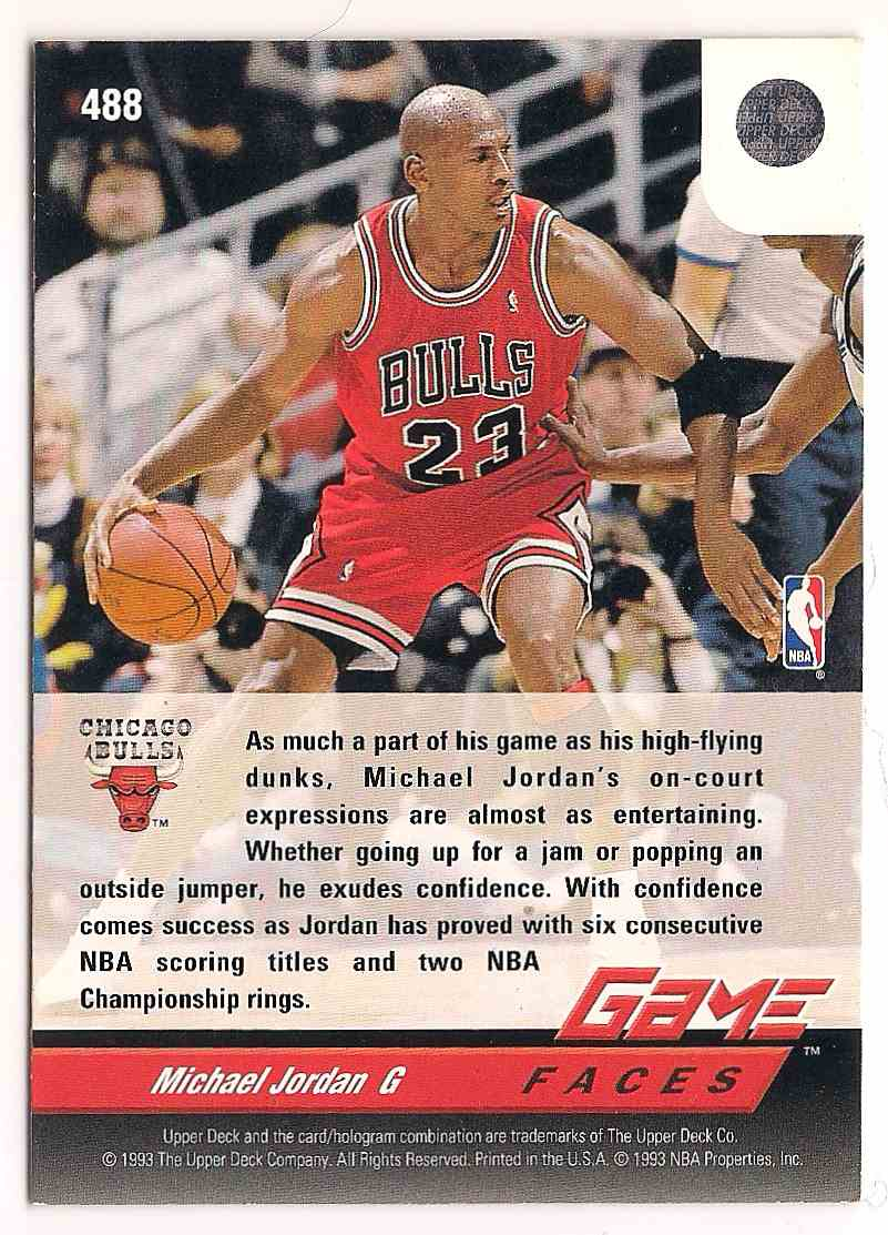1992-93 Upper Deck Game Faces Michael Jordan #488 card back image