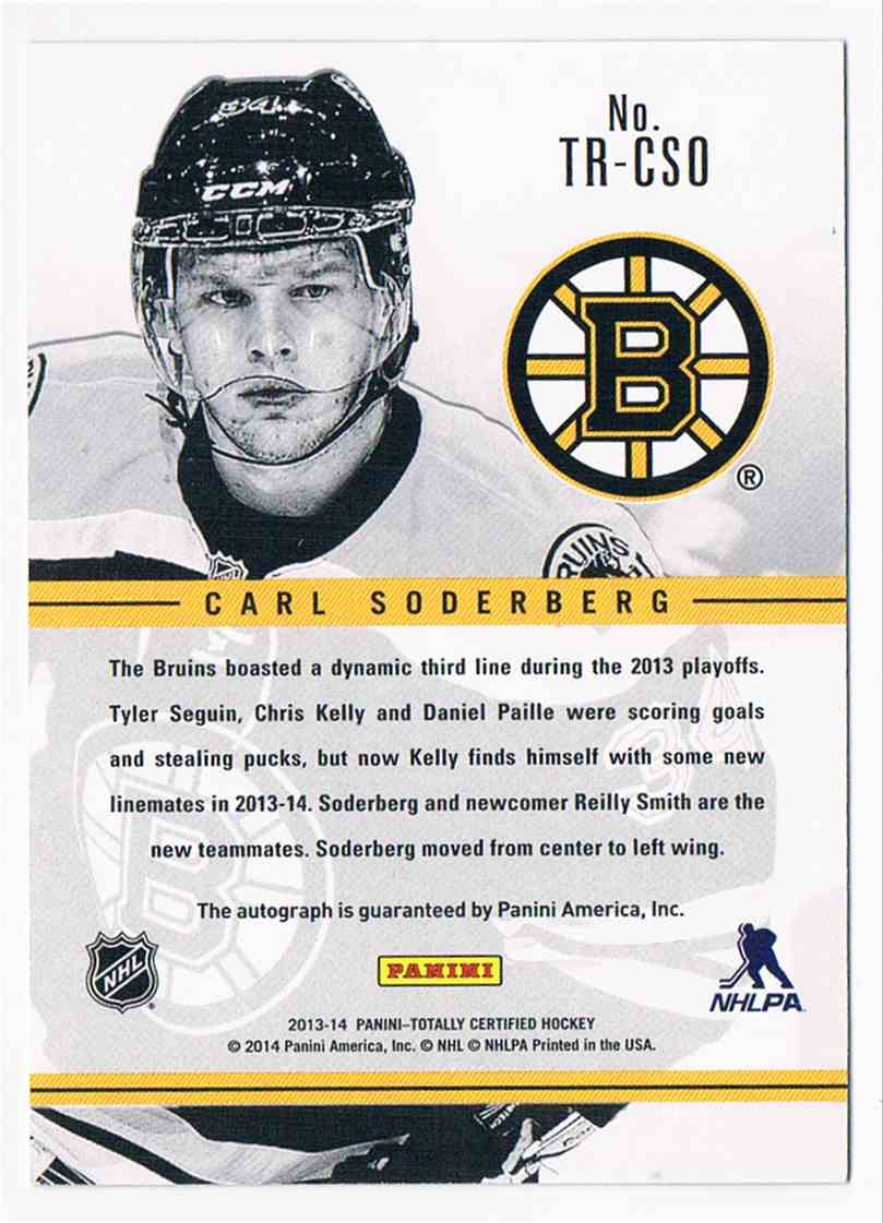 2013-14 Tottaly Certified Rookie Signatures Green Carl Soderberg #TR-CSO card back image