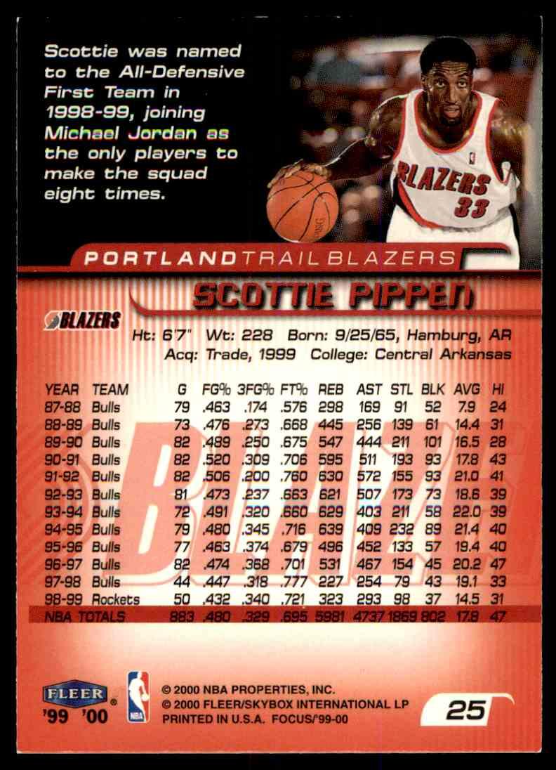 1999-00 Fleer Skybox Basketball Scottie Pippen #25 card back image
