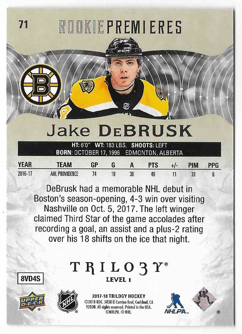 2017-18 Upper Deck Trilogy Jake DeBrusk #71 card back image
