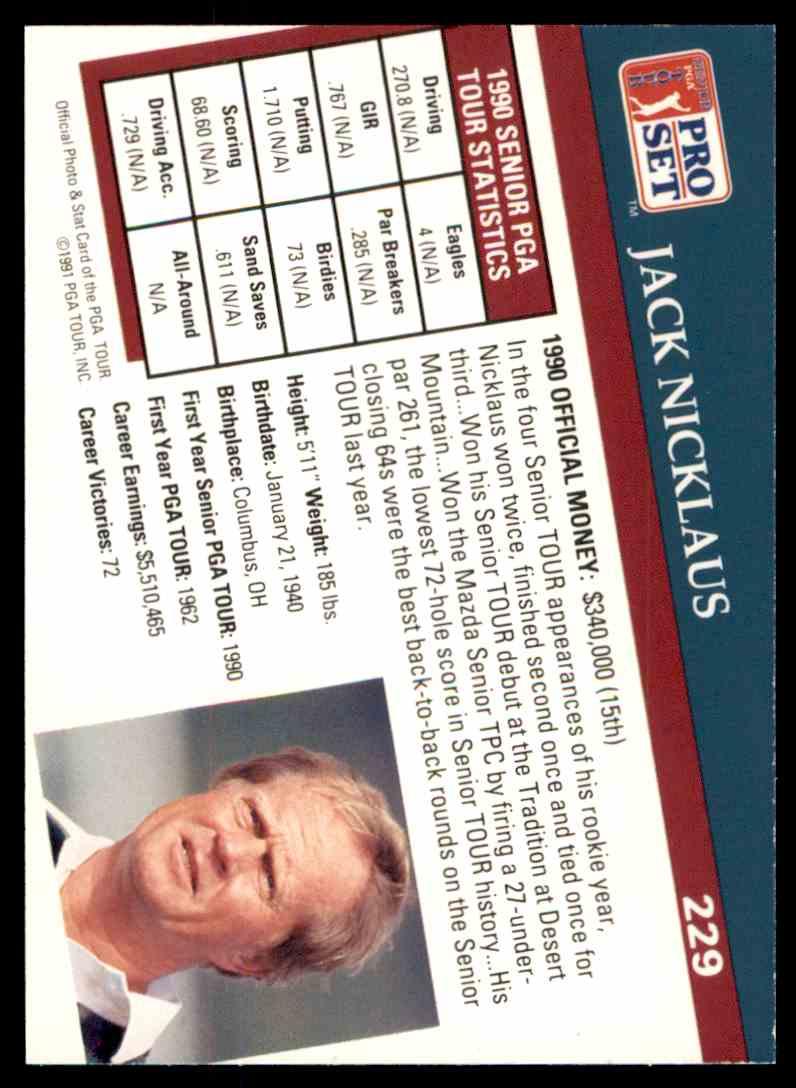 1991 Pro Set Jack Nicklaus #229 on Kronozio