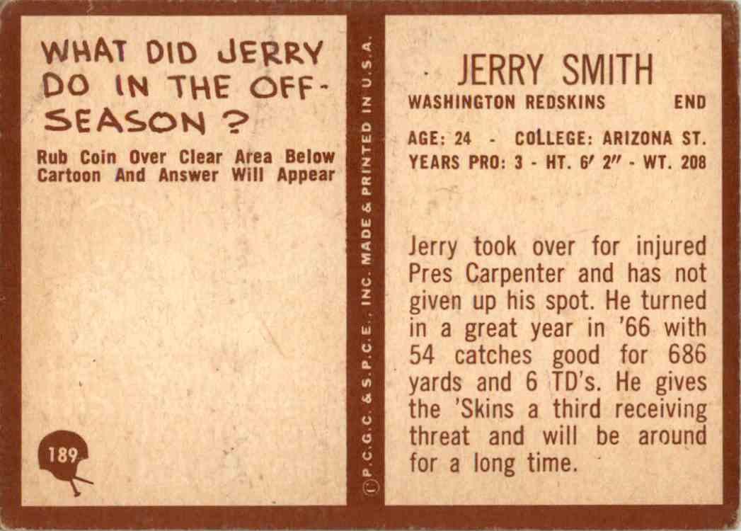 1967 Philadelphia Jerry Smith #189 card back image