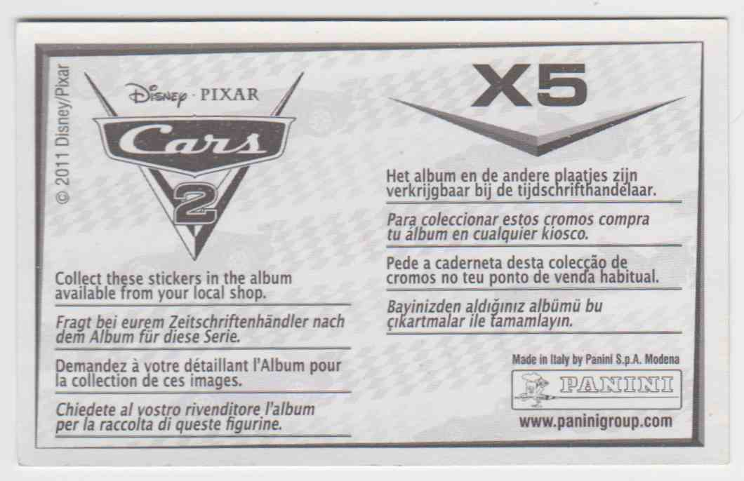 2011 Panini Disney Pixar Stickers Lightning McQueen #X5 card back image