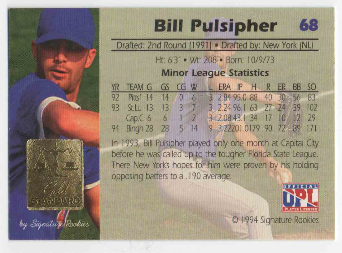 1994 Signature Rookies Gold Standard Bill Pulsipher #68 card back image