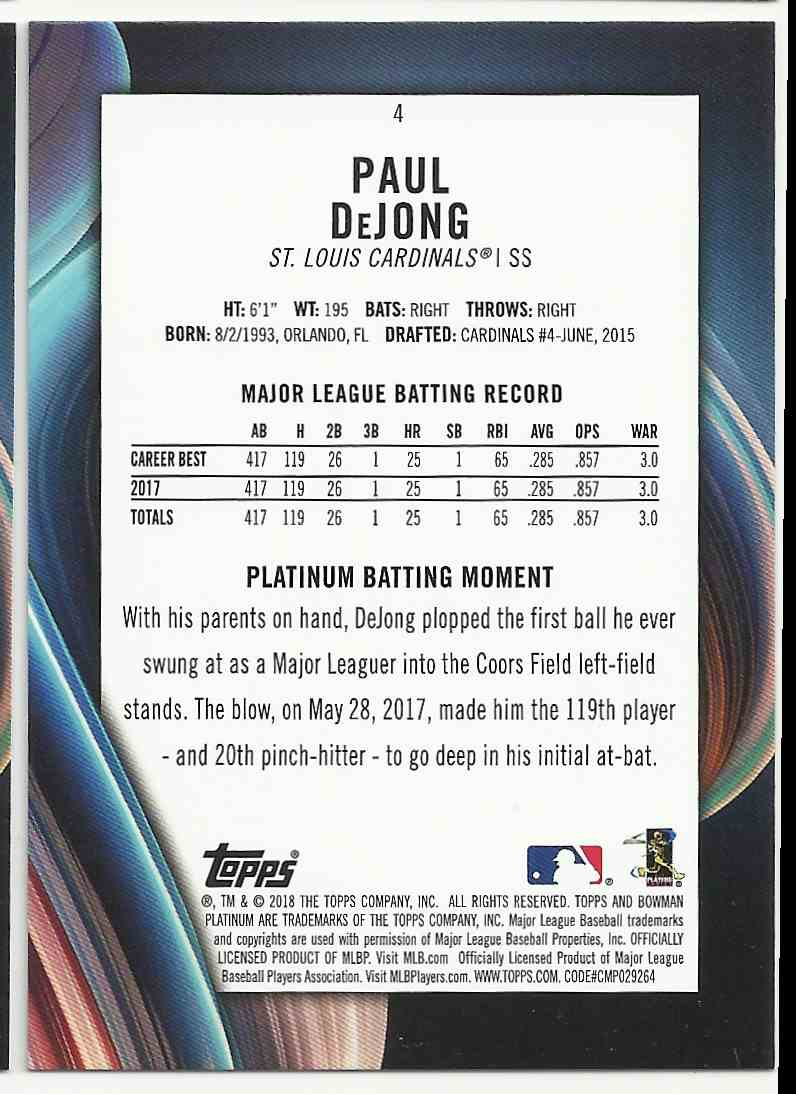 2018 Bowman Platinum Purple Paul DeJong #4 card back image