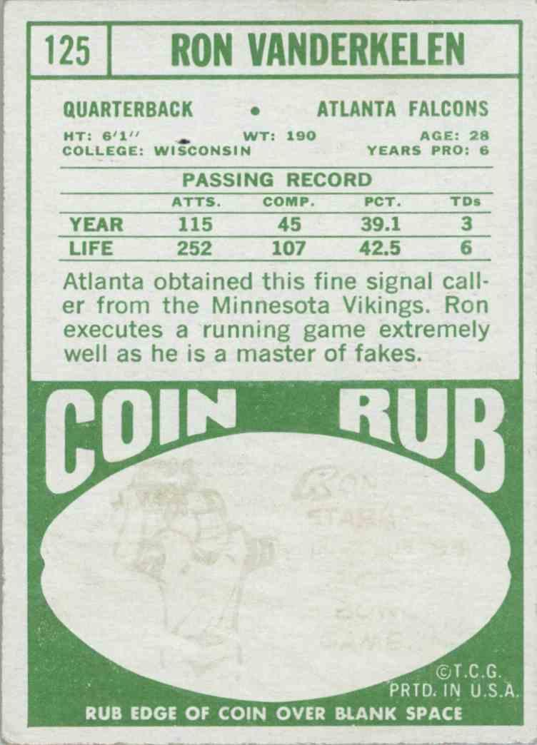 1968 Topps Ron Vanderkelen #125 card back image